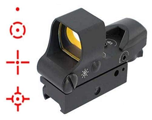 """Ultimate Arms Gear Rifle Scope 6 Ultimate Arms Gear Tactical Pro Panoramic Multi 4 Reticle Red Dot Open Tubeless Reflex Scope Sight Adjustable Brightness with Weaver-Picatinny 7/8"""" Rail Mount"""