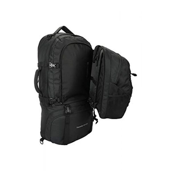 Mountain Warehouse Tactical Backpack 6 Mountain Warehouse Traveller 60 + 20L Travel Backpack - for Camping, Outdoor Rucksack with Detachable Daypack Black Women's Fit