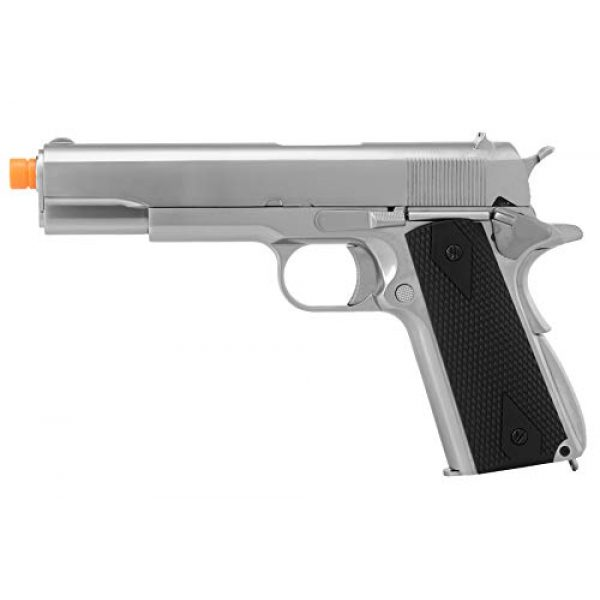 Lancer Tactical Airsoft Pistol 1 Lancer Tactical WE 1911 MEU Airsoft Gas Blowback Pistol with Classic Grips Silver 330 FPS
