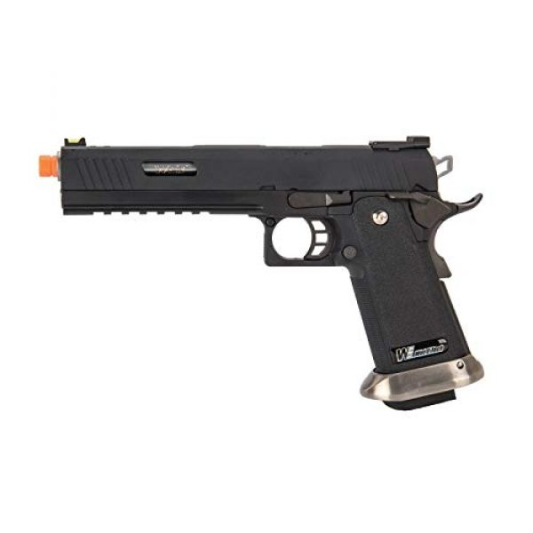 """Lancer Tactical Airsoft Pistol 1 Lancer Tactical WE-Tech Hi-Capa 6"""" IREX Competition Full Auto Gas Blowback Airsoft Pistol Black Silver Barrel"""
