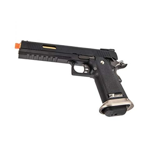 "Lancer Tactical Airsoft Pistol 6 Lancer Tactical WE-Tech Hi-Capa 6"" IREX Competition Full Auto Gas Blowback Airsoft Pistol Black Gold Barrel"