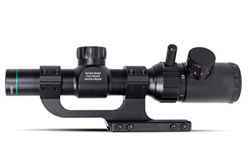 Monstrum Rifle Scope 2 Monstrum 1-4x20 Rifle Scope with Rangefinder Reticle | ZR250 H-Series Offset Scope Mount | Bundle