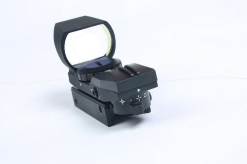 Ultimate Arms Gear Rifle Scope 4 Ultimate Arms Gear Tactical New Generation CQB 4 Reticle Red Dot Open Reflex Sight with Integral Sunshade And Rifle Shotgun Pistol Crossbow Weaver-Picatinny Rail Mount Includes Battery And Lens Cleaning Kit