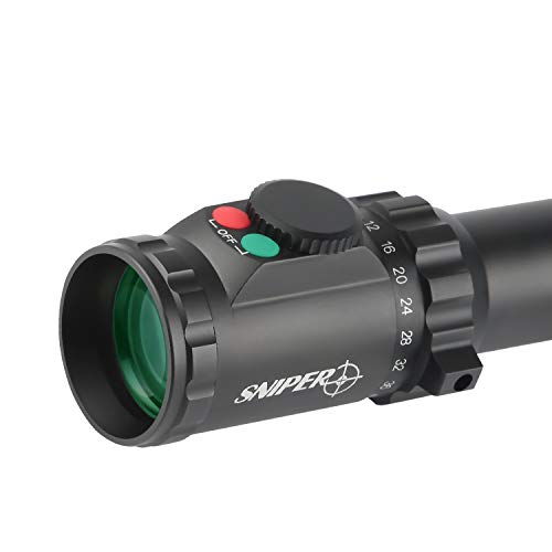 Sniper Rifle Scope 2 Sniper KT 5-40X56 SAL Rifle Scope 35mm Tube Side Parallax Adjustment Glass Etched Reticle Red Green Illuminated with Scope Rings