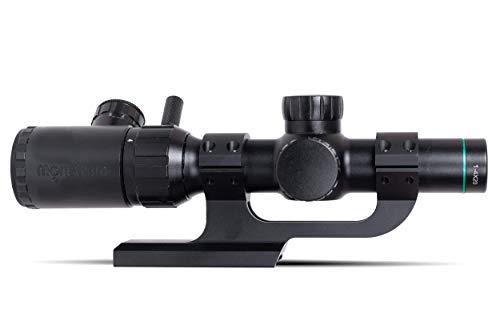 Monstrum Rifle Scope 1 Monstrum 1-4x20 Rifle Scope with Rangefinder Reticle | ZR250 H-Series Offset Scope Mount | Bundle