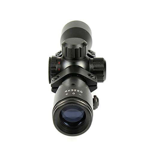 "DB TAC INC Rifle Scope 4 DB TAC 4x32 Crossbow Etched Glass Reticle Circles and Rangefinder, Only Circles Red or Green Illuminated, 1"" Tube and Mid-Height Weaver Ring Mount"