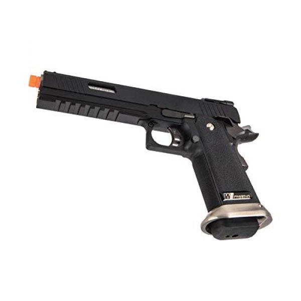 """Lancer Tactical Airsoft Pistol 6 Lancer Tactical WE-Tech Hi-Capa 6"""" IREX Competition Full Auto Gas Blowback Airsoft Pistol Black Silver Barrel"""
