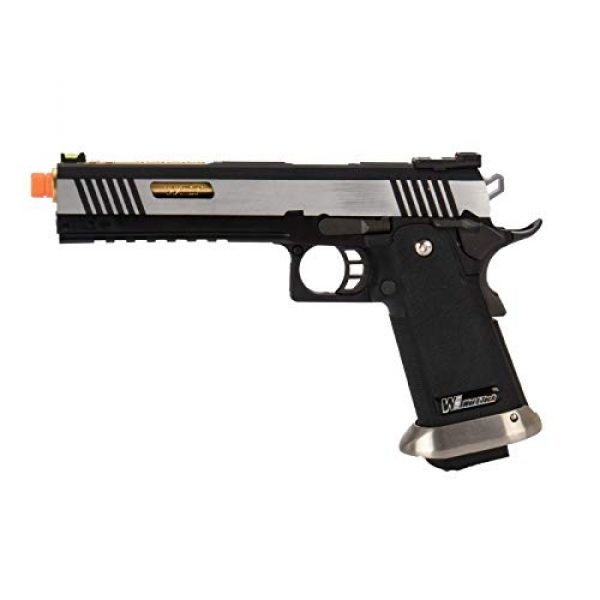 """Lancer Tactical Airsoft Pistol 1 Lancer Tactical WE-Tech Hi-Capa 6"""" IREX Competition Full Auto Gas Blowback Airsoft Pistol Black Silver Gold Barrel"""