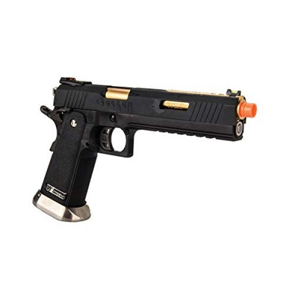 """Lancer Tactical Airsoft Pistol 4 Lancer Tactical WE-Tech Hi-Capa 6"""" IREX Full Auto Competition Airsoft Pistol Black Gold Barrel with Markings"""