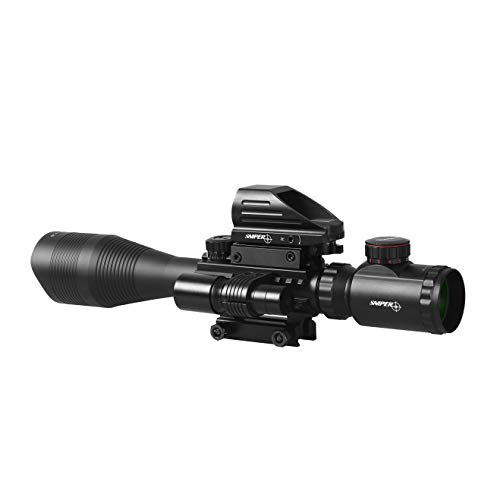 TPO Rifle Scope 1 TPO ST 4-16x50 Rifle Scope Combo Flashlight + Green Laser Sight+ 4 Holographic Reticle Red/Green Dot for Weaver/Rail Mount
