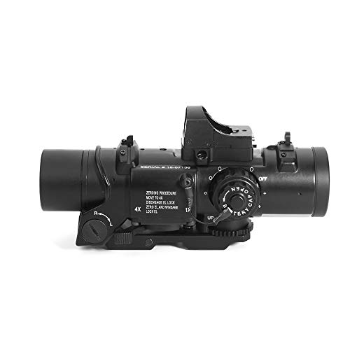 Luger Rifle Scope 3 Luger Tactical 1x-4x Magnification Optic Fixed Dual Purpose Scope Combo with Mini Red Dot Sight Wide Angle for Rifle Hunting Shooting