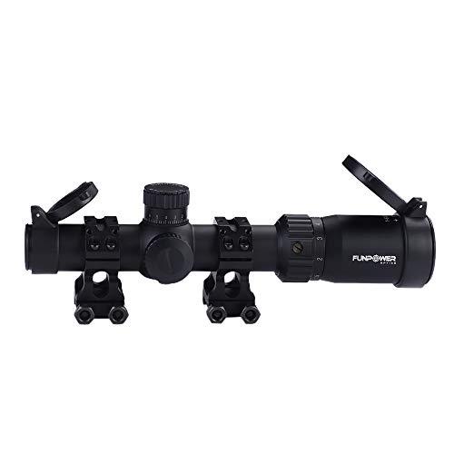 Funpower Rifle Scope 6 Funpower Riflescope 1-6x24 IR 30mm Diameter Outdoor Hunting Scope with 25.4/30mm Scope Mount Rings