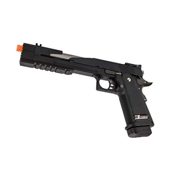 "Lancer Tactical Airsoft Pistol 5 Lancer Tactical WE-Tech Hi-Capa 7.0""Dragon Long Slide Full Auto Gas Blowback Airsoft Pistol with Standard Grip Black"