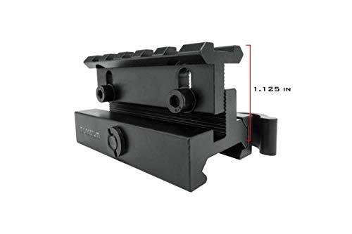 Monstrum Rifle Scope 7 Monstrum S330P 3X Prism Scope | RM5-AH Adjustable Height Riser Mount with Quick Release | Monstrum Flip Up Lens Cover Set | Bundle
