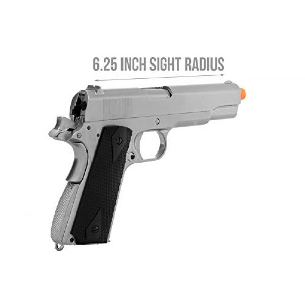Lancer Tactical Airsoft Pistol 5 Lancer Tactical WE 1911 MEU Airsoft Gas Blowback Pistol with Classic Grips Silver 330 FPS