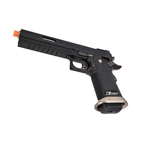 """Lancer Tactical Airsoft Pistol 5 Lancer Tactical WE-Tech Hi-Capa 6"""" IREX Full Auto Competition GBB Airsoft Pistol Black with Markings"""