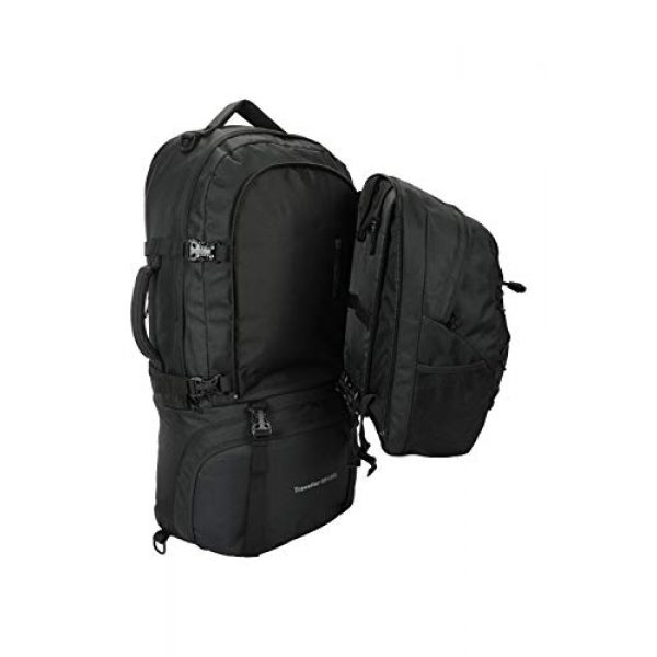 Mountain Warehouse Tactical Backpack 6 Mountain Warehouse Traveller 60 + 20L Travel Backpack - for Camping, Outdoor Rucksack with Detachable Daypack