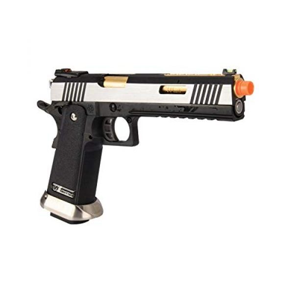 """Lancer Tactical Airsoft Pistol 4 Lancer Tactical WE-Tech Hi-Capa 6"""" IREX Competition Full Auto Gas Blowback Airsoft Pistol Black Silver Gold Barrel"""