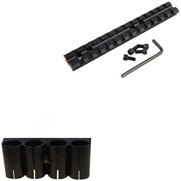 Gotical Shotgun Shell Mount 2 Gotical 13 Slots Mossberg 500 or 590 Series Shotgun Weaver Mount Rail 20mm Picatinny Mount Rail Shotgun and Mounted Mossberg 500/590 / 835 / Maverick 88 4 Round 12 Gauge Shotgun Ammo Shell