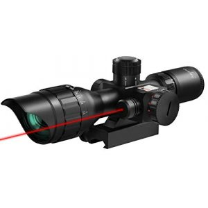 MidTen Rifle Scope 1 MidTen Rifle Scope 2.5-10X Dual Illuminated Mil-dot Gun Scopes with Red Laser & 20mm Mounts