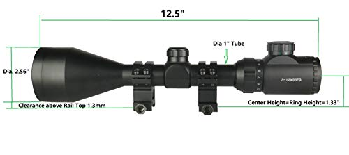 TWP Rifle Scope 4 TWP T3-12x56 Riflescope Rangefinder,Red and Green Illuminated, Heavy Duty Scope Ring Weaver Mount
