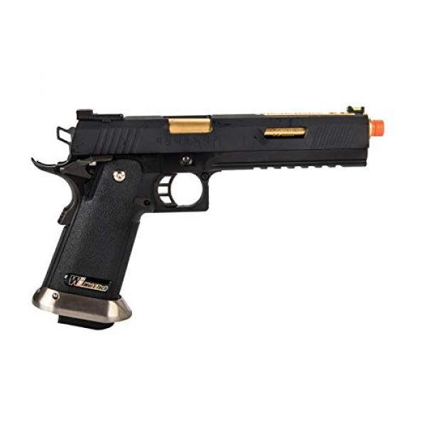 """Lancer Tactical Airsoft Pistol 2 Lancer Tactical WE-Tech Hi-Capa 6"""" IREX Full Auto Competition Airsoft Pistol Black Gold Barrel with Markings"""