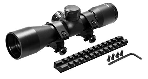 TRINITY Rifle Scope 7 TRINITY Mossberg 500 Mossberg 590 4x32 Scope and Rail Mount Kit Picatinny Weaver Mount Adapter Aluminum Black Tactical Optics Hunting Accessory mildot Reticle Target Range Gear Single Rail.