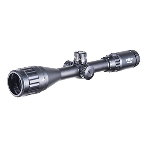 Pinty Rifle Scope 2 Pinty 3-9X40 Rifle Scope AO Red Green Blue Illuminated Mil Dot with Flip-Open Covers, Sunshade Tube