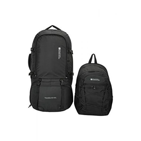 Mountain Warehouse Tactical Backpack 7 Mountain Warehouse Traveller 60 + 20L Travel Backpack - for Camping, Outdoor Rucksack with Detachable Daypack Black Women's Fit