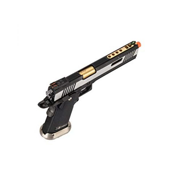 """Lancer Tactical Airsoft Pistol 3 Lancer Tactical WE-Tech Hi-Capa 6"""" IREX Competition Full Auto Gas Blowback Airsoft Pistol Black Silver Gold Barrel"""