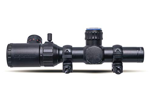 Monstrum Rifle Scope 2 Monstrum 1-3x20 Rifle Scope with Rangefinder Reticle with Scope Rings