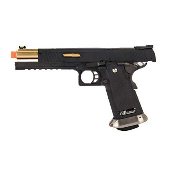 "Lancer Tactical Airsoft Pistol 5 Lancer Tactical WE-Tech Hi-Capa 6"" IREX Competition Full Auto Gas Blowback Airsoft Pistol Black Gold Barrel"