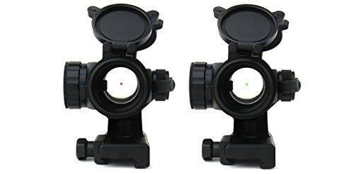 TacFire Rifle Scope 7 TacFire 1 x 30mm Tactical Dot Rifle Scope Sight with Cantilever Weaver Mount, Red/Green