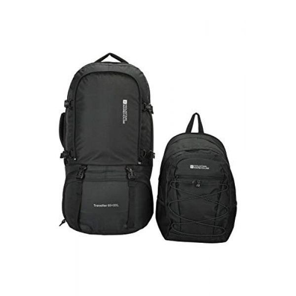 Mountain Warehouse Tactical Backpack 7 Mountain Warehouse Traveller 60 + 20L Travel Backpack - for Camping, Outdoor Rucksack with Detachable Daypack