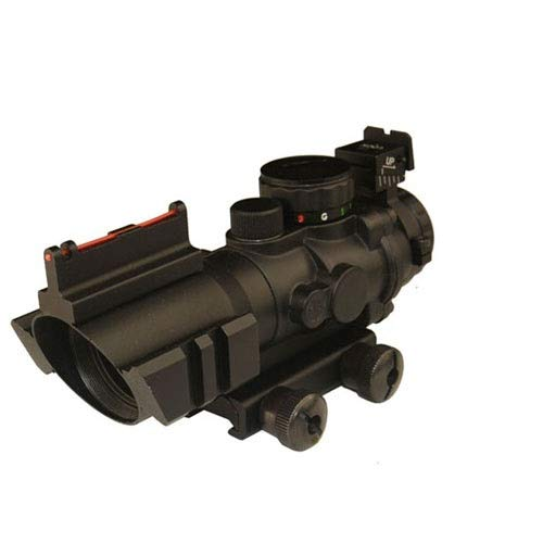 THEA Rifle Scope 1 THEA Prism 4x32 Red/Green/Blue Triple Illuminated Rapid Range Reticle Rifle Scope W/Top Fiber Optic Sight and Weaver Slots (12 Month Warranty)