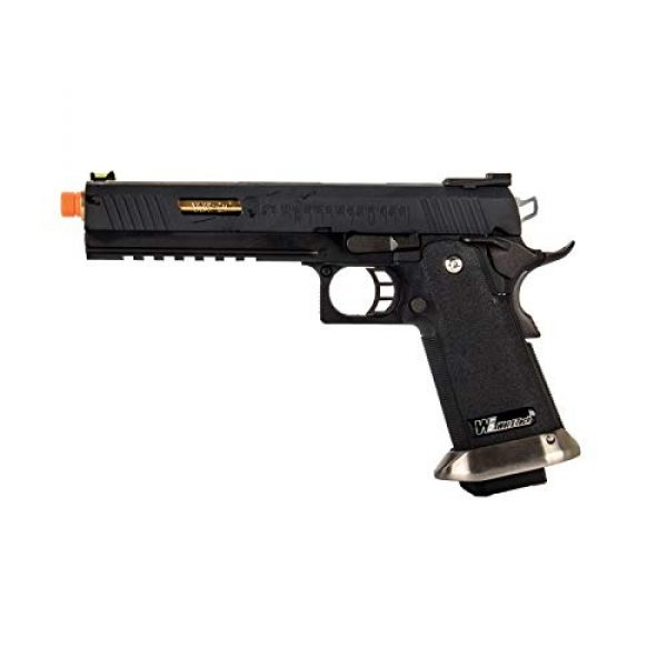 """Lancer Tactical Airsoft Pistol 1 Lancer Tactical WE-Tech Hi-Capa 6"""" IREX Full Auto Competition Airsoft Pistol Black Gold Barrel with Markings"""