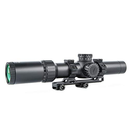 Sniper Rifle Scope 3 Sniper KT 1-12X24 SAL Rifle Scope 35mm Tube Glass Etched Reticle Red Illuminated with Scope Rings