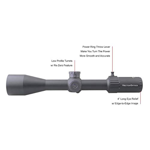 Vector Optics Rifle Scope 4 Vector Optics Marksman 6-24x50mm, 1/10 MIL, 30mm Tube, First Focal Plane (FFP) Hunting Riflescope