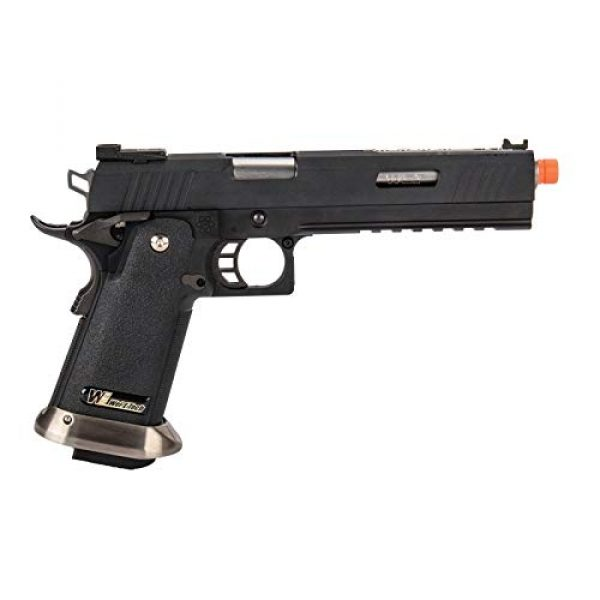 """Lancer Tactical Airsoft Pistol 2 Lancer Tactical WE-Tech Hi-Capa 6"""" IREX Competition Full Auto Gas Blowback Airsoft Pistol Black Silver Barrel"""