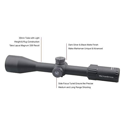 Vector Optics Rifle Scope 3 Vector Optics Marksman 6-24x50mm, 1/10 MIL, 30mm Tube, First Focal Plane (FFP) Hunting Riflescope