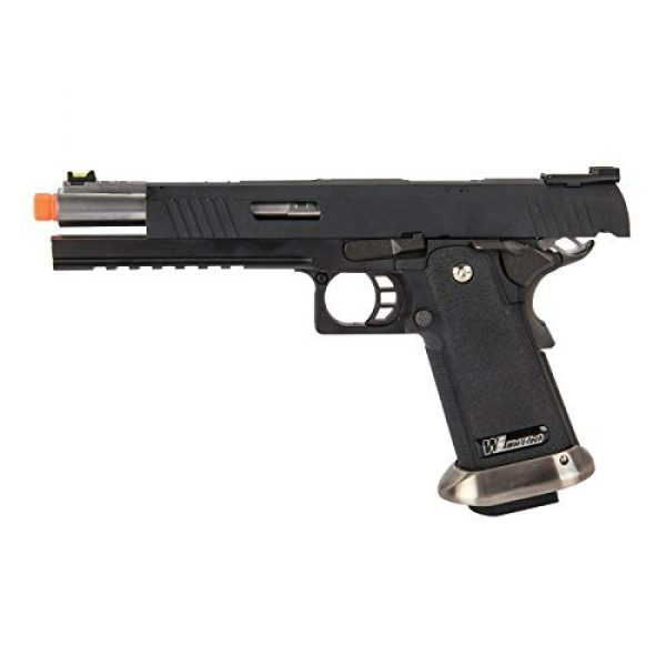 """Lancer Tactical Airsoft Pistol 5 Lancer Tactical WE-Tech Hi-Capa 6"""" IREX Competition Full Auto Gas Blowback Airsoft Pistol Black Silver Barrel"""