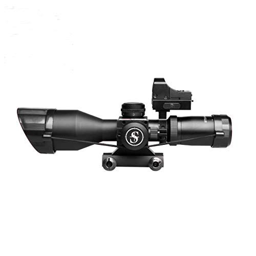 Sniper Rifle Scope 2 Sniper ST2.5-10x40 Rifle Scope Combo with Green Laser R/G Illuminated Reticle Red Dot Sight