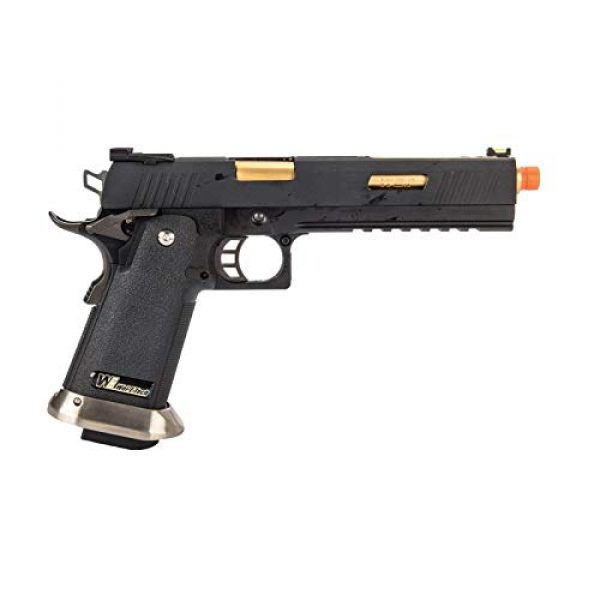 "Lancer Tactical Airsoft Pistol 2 Lancer Tactical WE-Tech Hi-Capa 6"" IREX Competition Full Auto Gas Blowback Airsoft Pistol Black Gold Barrel"