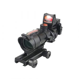 AJDGL Rifle Scope 1 AJDGL Optic Scope 4x32 Scope True Fiber Red Illuminated Crosshair Reticle Scopes with 20mm Rail Mount Holographic Sight