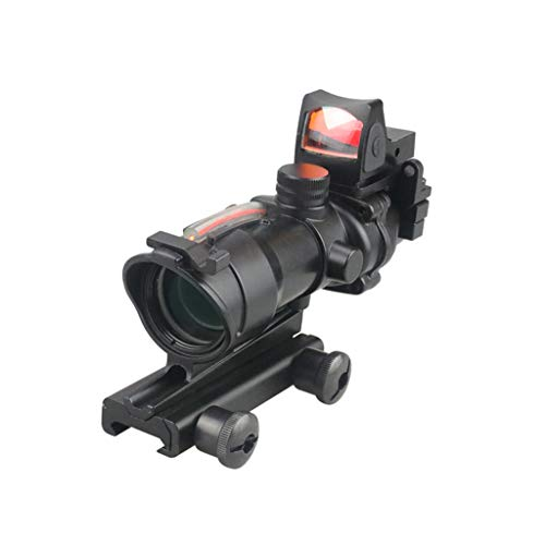 AJDGL Rifle Scope 1 AJDGL Optic Scope 4x32 Scope True Fiber Red Illuminated Crosshair Reticle Scopes with 20mm Rail Mount Holographic Sight