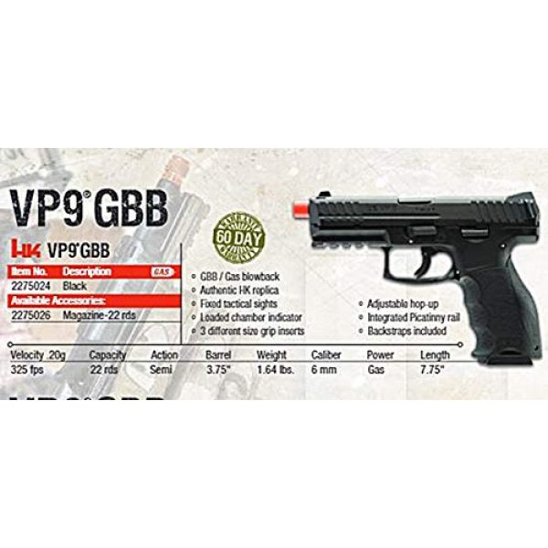 Umarex Airsoft Pistol 5 HK Heckler & Koch VP9 GBB Blowback 6mm BB Pistol Airsoft Gun, Black
