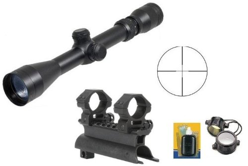 """Ultimate Arms Gear Rifle Scope 1 Ultimate Arms Gear Tactical SKS 7.62x39 Rifle See Through Receiver Cover Replacement Scope Mount With 2-7x32 Rifle Duplex Sniper Reticle Scope With Included 7/8"""" Weaver-Picatinny Scope Rings"""