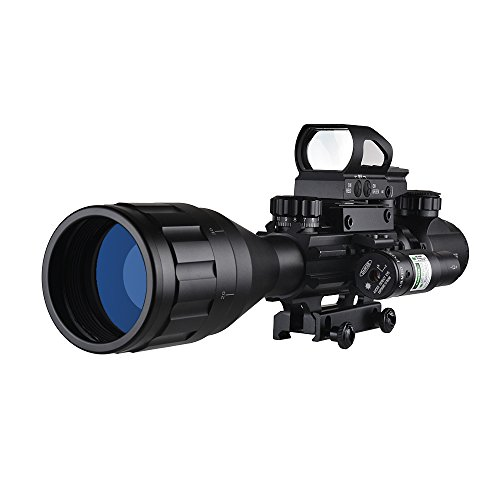 XOPin Rifle Scope 4 XOPin Rifle Scope Combo 4-16x50 Dual Illuminated with Green Laser sight 4 Holographic Reticle Red/Green Dot for Weaver/Rail Mount