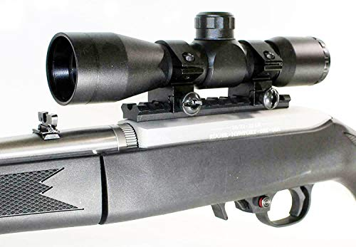 TRINITY Rifle Scope 3 Trinity Black 4x32 Hunter Scope for Ruger 10/22 Hunting Tactical Optics Picatinny Weaver Mount Adapter Aluminum Black Target Range Accessory Single Rail Mount.