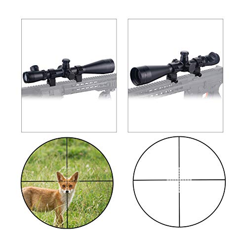 ToopMount Rifle Scope 4 ToopMount 3.5-10x50mm Rifle Scope SF M1 Optics Red Illuminated Riflescope Tactical Scope for 11 level Controls with 11, 20mm Rings